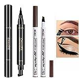 Double-end Winged Eyeliner Stamp Pen,Eyebrow Pencil with Eye Makeup Long Lasting Waterproof & Smudgeproof Natural Looking Brows 2PCS (Brown / Black))