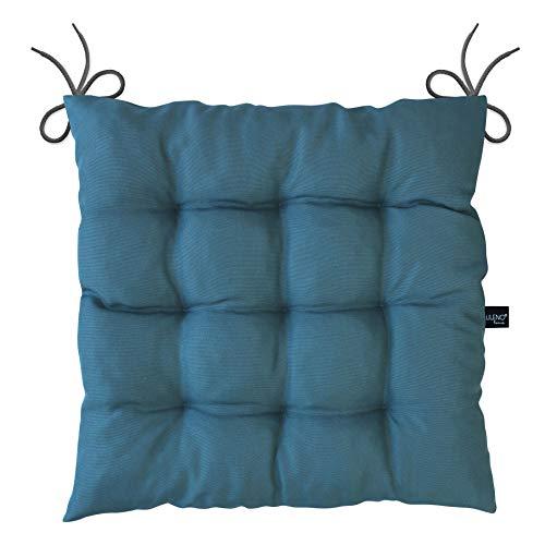 Lileno Home - Cuscino per sedia, 40 x 40 x 6 cm, Blu, set da 6