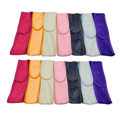 Minkissy 14 Stücke Gesicht Spa Stirnband Frottee Kosmetik Haarband Stretch Handtuch für Damen Make-up Bad Dusche Yoga Sport(Gemischte Farbe)