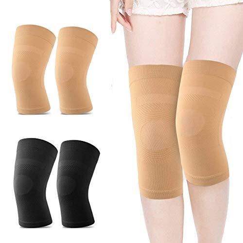 1 Paar Unisex-Kniebandage-Kompressionshülse, Leichte Knie-Ärmel-Unterstützung für Schmerzlinderung, Gelenkschmerzen, Arthritis, Laufen, Sport, Wiederherstellung von Verletzungen (Color : Beige XXL)