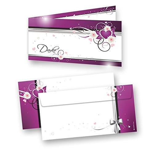Danksagungskarten Hochzeit Herzen (20 Sets) sehr elegante Dankeskarten für Hochzeit, inkl. Dreieckstaschen für Ihr Hochzeitsbild