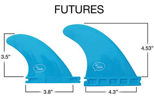 Ho Stevie! Fiberglass Reinforced Polymer Surfboard Fins - Quad (4 Fins) FCS or Futures Sizes, with Fin Bag, Screws, Wax… 6 🏄♂️ QUAD FINS fit any surfboard that uses FCS (original or FCS II) or Futures fins (select which kind) - whether it's a shortboard, funboard, or longboard. 🌊 BALANCED FIN TEMPLATE is suited for all types of waves. Hit the accelerator at your favorite point break, boost some airs, or lay into some wedges at the nearest beachbreak. 🎁 INCLUDES EVERYTHING YOU NEED: 4 surfboard fins, wax comb / fin key / bottle opener, fin screws, and travel case.