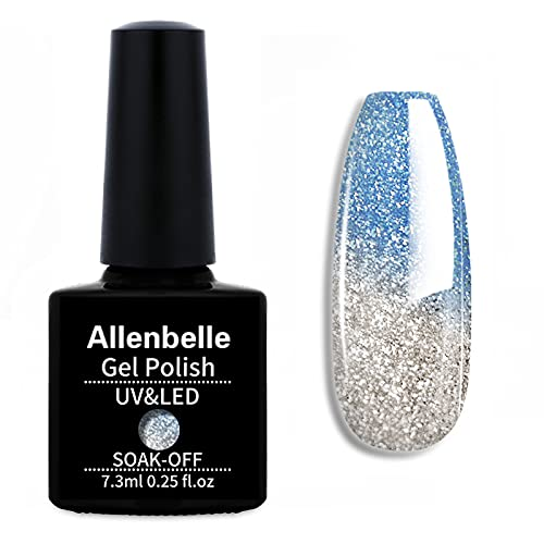 Allenbelle Color Changing Nail Polish Set Color Changing Gel Polish Set Mood Soak Off Uv Led Gel Nail Polish (Blue To White)