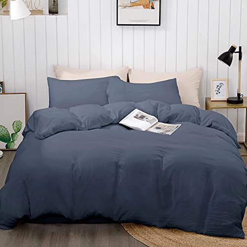 """BEDELITE Duvet Cover King Size, Navy Blue Bedding Comforter Cover for Summer, Soft Quilt Cover with Zipper Closure - 3 Pieces (1 Cover 104""""x90""""+ 2 Pillow Shams)"""