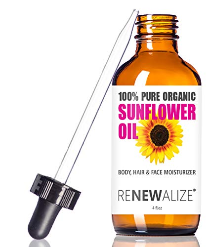 Renewalize ORGANIC SUNFLOWER SEED OIL FACE MOISTURIZER - 4oz size   All Natural Cold Pressed 100 Pure - High Linoleic   Best for Acne Prone Oily Skin and Face   Daily or Nighttime Facial Regimen for Men & Women