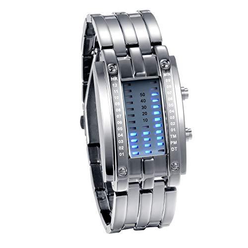 JewelryWe Paar Uhren Digitaluhr Silber Edelstahl Binäre Uhr Rechteck Bezel LED Sportuhr Blau LED Licht Kalender Mode Cool Partner Armbanduhr für Damen