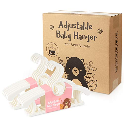 Homewit 20-teilig ausziehbare Babykleiderbügel | 29 cm ~ 37 cm ausziehbare Kinderkleiderbügel | mit Stapelbaren Bärchen-Haken | 100% aus neues Kunststoff | Ideal für Baby und Kind