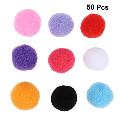 Ueetek Pompons, Plüsch, rund, 4 cm, in verschiedenen Farben, für Bastelarbeiten, 50 Stück (gemischte Farbe)