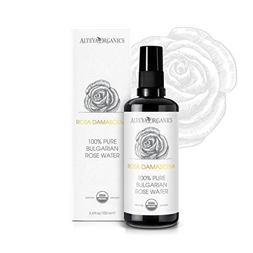 Alteya Bio Rosenwasser Spray in Glasflasche 100ml– 100% USDA Organic-zertifiziert Authentisch Wasserdampfdestilliertes Blütenwasser aus Damaszener Rosen, Direkt vom Rosenanbauer Alteya Organics