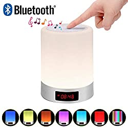 Richsing Touch lamp Bedside Lamp with Bluetooth Speaker Table lamp Alarm Clock USB Rechargeable Internal Battery Dimmable Warm White Light Touch Lamp for Bedroom