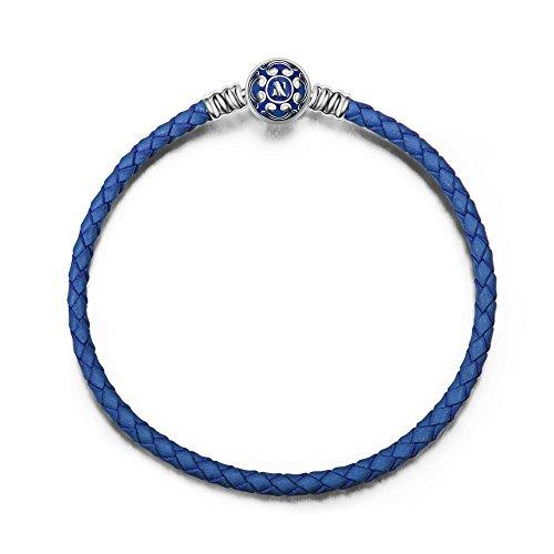 NINAQUEEN Pulsera 19 CM Cuero Azul Regalos Mujer Originales Plata de Ley 925 Esmalte Brazalete para Niñas Madre Hija Esposa de Cumpleaños