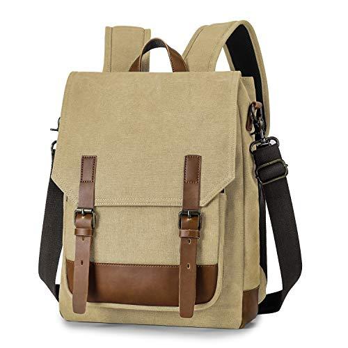 TAK Zaino Casual retro Borsa Tracolla Vintage Zaino 2 in 1 Multifunzione backpack Zaino Uomo Donna Zaino Con Scomparto per Laptop per Scuola Lavoro Viaggio Marrone chiaro