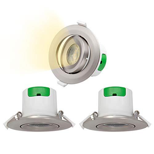 Lampes Spot a Encastrer LED Encastrable Plafond Plafonnier LED Orientable Plastique Nickelé 7W Blanc Chaud 3000K Trou de Plafond Diamètre 70-75MM AC100~240V Lot de 3 de Enuotek