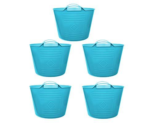Ondis24 Flexi Tub Tragekorb, 34cm Ø x 27 (H) cm, Gartenkorb, Wäschekorb, Spielzeugeimer, Flexible und praktisch,15 Liter, blau (5 Stück)