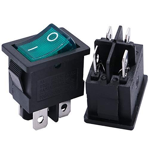 mxuteuk 8 piezas luz verde iluminado a presión interruptor basculante para barco de encendido y apagado DPST 4 pines AC 250 V 6 A 125 V 10 A, uso para auto barco electrodomésticos