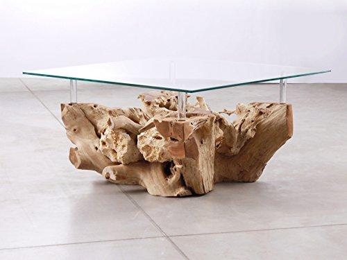 Picassi Designer Couchtisch Baumwurzel Glas