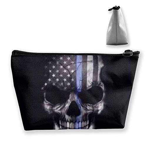 Blue Line Polizei Schädel Trapez Reise Kosmetik Aufbewahrungstasche Clutch Bag