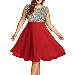 Red Sequin Plus Size Formal Round Neck Sleeveless Dress