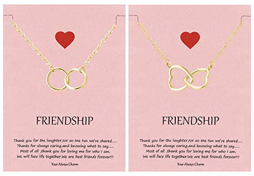 Your Always Charm Double Circle Knot Necklace,Two Interlocking Infinity Circles Gift for Best Friend (2 Gold Necklace)