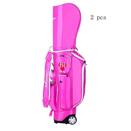 Jtoony Golftasche Leichte Golftasche Trolley Golf-Zubehör Sport Golftasche mit Rädern Golf Tragetasche for Männer Frauen, 2er-Pack Golfbags (Color : Pink, Size : As Shown)