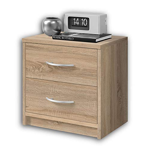 Stella Trading PEPE Nachttisch in Eiche Sonoma Optik - Schlichter Nachtschrank mit zwei Schubladen passend zu jedem Bett & Schlafzimmer - 39 x 39 x 28 cm (B/H/T)