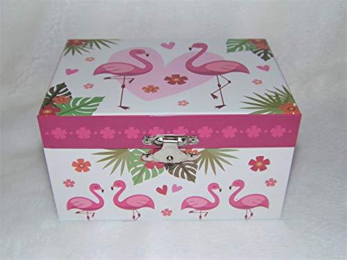 Caja de música y joyas flamencos rosas.