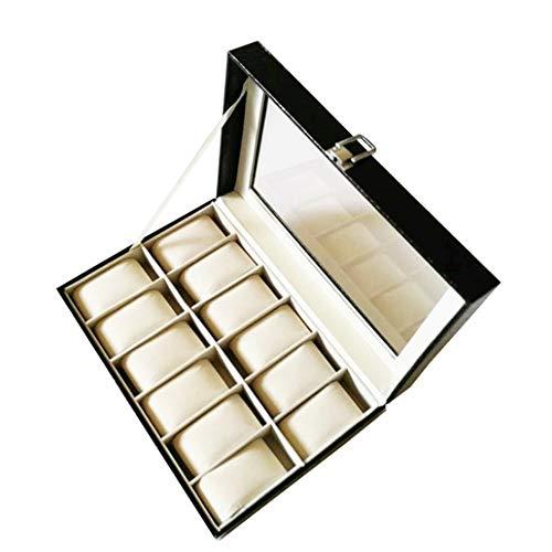 JIAGU Caja de reloj de joyería con 12 ranuras, color negro, caja de almacenamiento, caja de regalo para almacenamiento y exhibición (color: negro, tamaño: 333 x 23 x 11 cm)