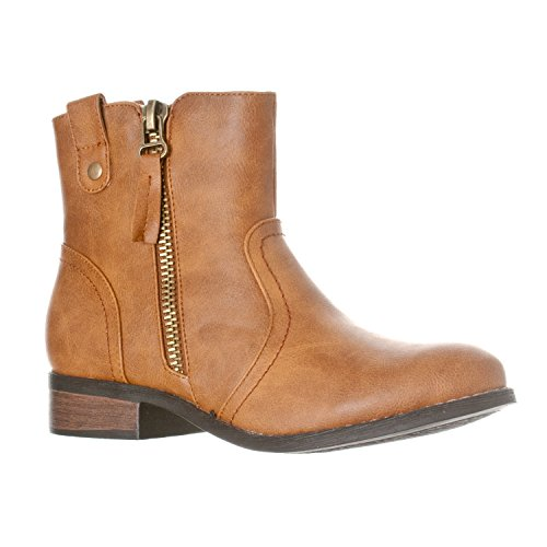 Riverberry Women's Hailey Western Style Low Heel Zip-Up Ankle Bootie Boots, Tan, 6.5