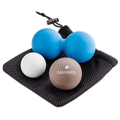 Navaris Bolas de masaje muscular - Set 3x pelota para automasaje espalda miofascial contracturas - Juego 2 pelotas y 1 bola doble cacahuete lacrosse