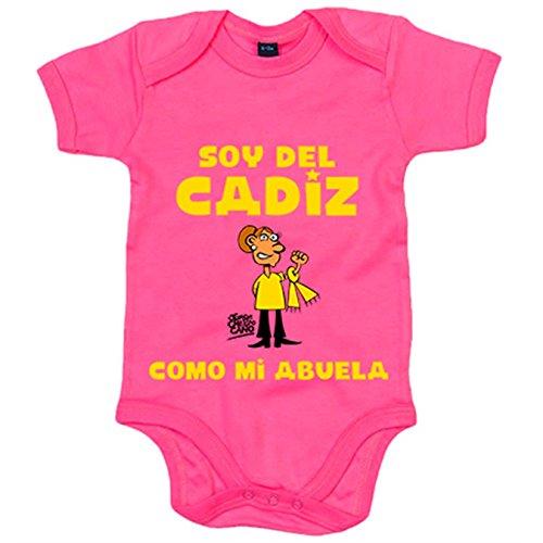 Body bebé soy del Cadiz como mi abuela ilustrado por Jorge Crespo Cano - Rosa, Talla única 12 meses