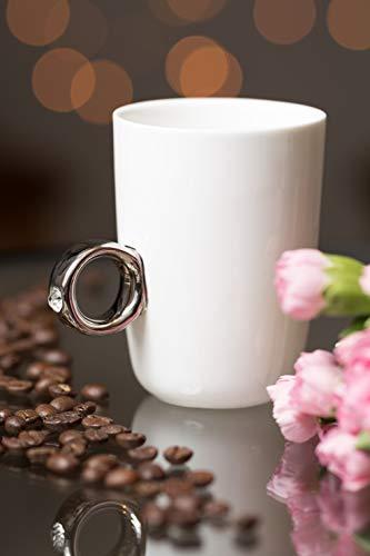 KOSxBO® koffiemok met verlovingsring als handvat in een elegant juwelendoosje, huwelijkscadeau