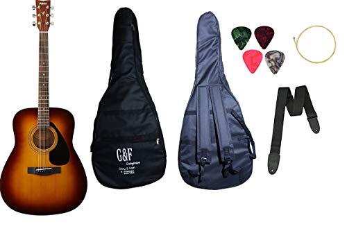 YAMAHA Mexa Yamaha F310, Dreadnought Acoustic Guitar with Sponge Bag, Belt and Plectrums Combo Pack
