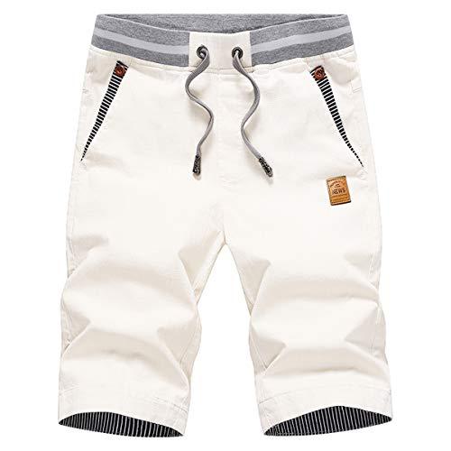 JustSun Kurze Hosen Herren Shorts Sommer Shorts Chino Baumwolle mit Tunnelzug Weiß S