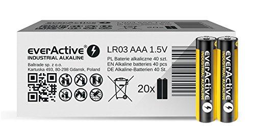 everActive AAA Batterien 40er Pack, Industrial Alkaline, Micro LR03 R03 1.5V, 5 Jahre Haltbarkeit, 40 Stück