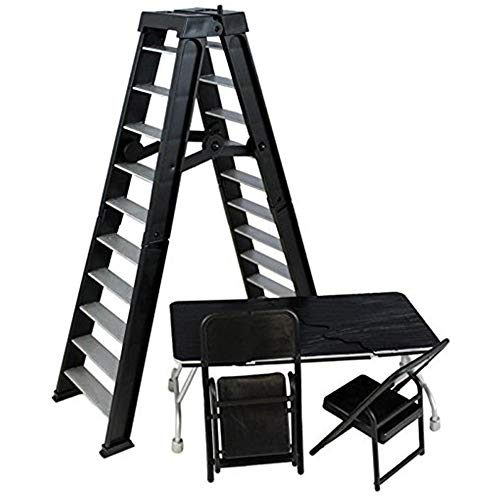 WWE Ringside - Ultimate Table, Ladder & chairs Silver Playset WRESTLING ACTION FIGURE ACCESSORY PACK (BLACK)