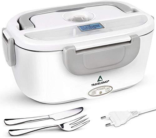 TRAVELISIMO Elektrische Lunchbox 2 in 1 für BÜRO 220V, Lunch box Brotdose Elektrisch 1.5L 40W, Warmhaltebox Edelstahl für Essen, Speisenwärmer Electric Haushalt Box