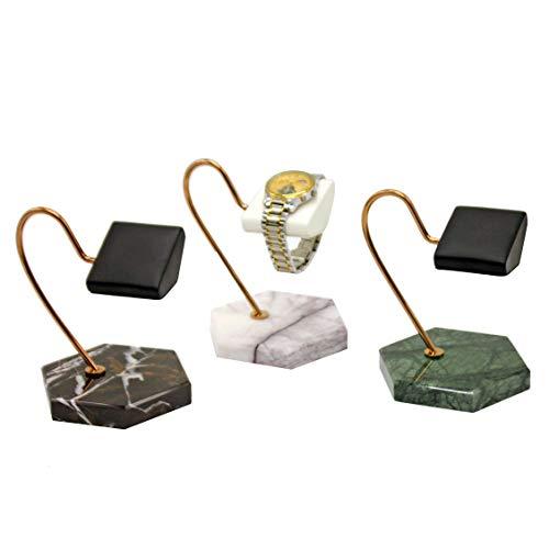 Cobeky Soporte de exhibición de reloj con base de mármol natural (negro+verde+blanco), soporte dorado de poliuretano, soporte para reloj, soporte de exhibición de almacenamiento