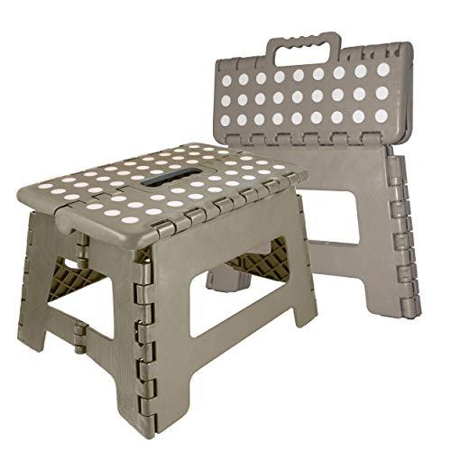 Oramics Klapphocker faltbar – 29 x 22 x 22 cm belastbar bis 100 Kg – praktischer Kunststoff Tritt-Hocker Klapptritt Trittleiter klappbar (Grau)
