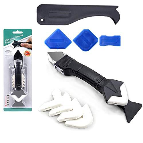 Silikon Dichtungswerkzeuge 3 in 1 Kit (Edelstahlkopf) Dichtungsmittel Finishing Tool Mörtel Schaber, Wiederverwendung und Ersetzen 5 Silikonkissen, zum Badezimmerfenster,Waschbeckenverbindung