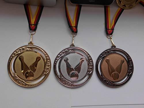 Fanshop Lünen Medaillen Set - Große Metall 70mm - Gold,Silber,Bronce, Bowling - mit Emblem Alu 25mm - Gold,Silber,Bronce, Bowlen - mit Medaillen-Band - Turnier - (e259)