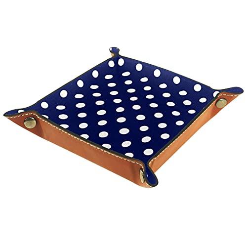 Catchall Tray Desk Organizer Valet Tray für Herren Damen Schlüsselablage für Tischmünze Aufräumen für das Büro zu Hause Fliesen Weiße Tupfen Sailor Navy