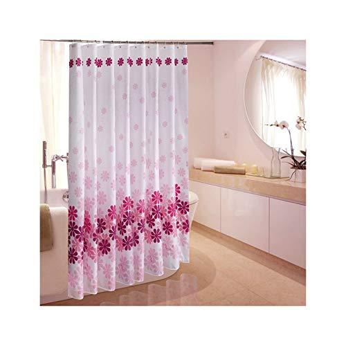 SonMo Duschvorhang Farbverlauf Blume Polyester Rosa Anti-Schimmel Anti-Bakteriell Wasserdichtbadewanne Vorhänge mit Duschvorhangringen Verdicken als Trennwand 120×200CM