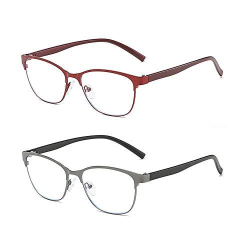 Reading Glasses Gafas de Lectura Anti-Azules para Personas Mayores, Ligeras y Flexibles, Las Patillas TR se Pueden Doblar a voluntad sin daños, Resistentes y duraderas, Negras, Rojas