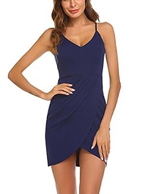 Sherosa Womens Deep V Neck Spaghetti Straps Summer Dress Sleeveless Sexy Backless Bodycon Party Dress