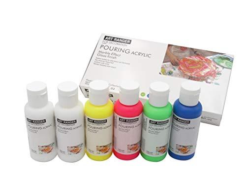 Acryl Pouringset 6 x 100 ml in NEON-Farben, gebrauchsfertige Acrylfarben mit eingemischtem Pouringmedium, Gießfarbe, Gießmedium, Fließtechnik