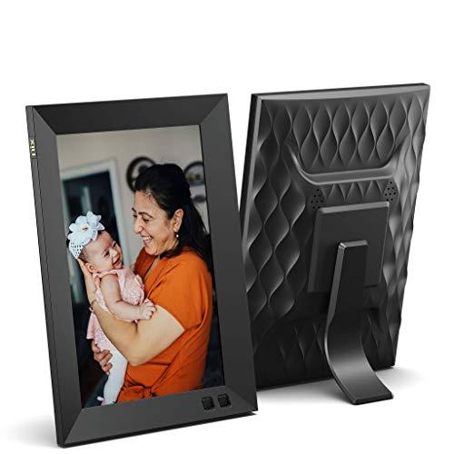NIX 8 Zoll Digitaler Bilderrahmen (Ohne WiFi), HD Fotos, Videos in gleicher Diashow, Automatische Bilderdrehung, Energiesparender Bewegungssensor, Wandmontierbar, Uhr/Kalenderfunktion, Fernbedienung