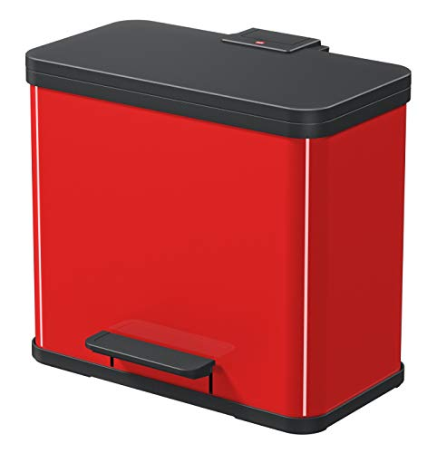 Hailo Öko trio Plus L, Mülltrenner, 3 x 9 Liter, 3 einzeln herausnehmbare Inneneimer, Deckeldämpfung (Soft Close), rot, Made in Germany, 0633-240