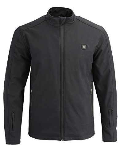 Milwaukee Leather Performance - Men's Zipper Front Heated Waterproof Soft Shell Jacket With Front & Back Heating Elements | Rechargeable Battery Included (Black, Large)
