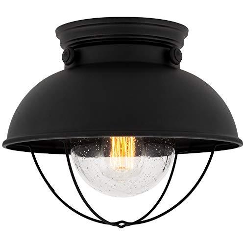 "Kira Home Bayside 11"" Nautical Farmhouse Flush Mount Ceiling Light + Seeded Glass Shade, Matte Black Finish"