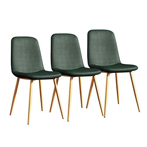LSRRYD 3-delige set eetkamerstoelen modern keukenbar comfortabel gevoerde zitting van PU-leer met robuuste metalen poten kantoor huisstoel barkruk groen
